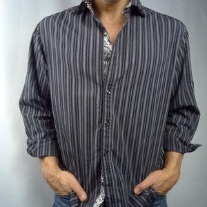 Other - Designer shirt cultural black striped Paisley trim